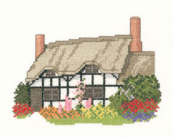 Black and White Cottage Cross Stitch Kit